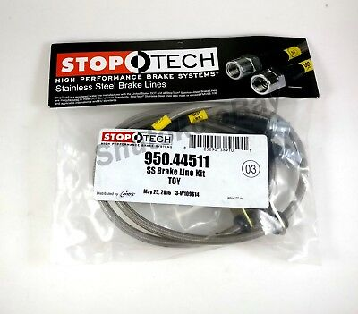 Stoptech Stainless Steel Rear Brake Lines For 02-15 Toyota Camry / 04-08 Solara