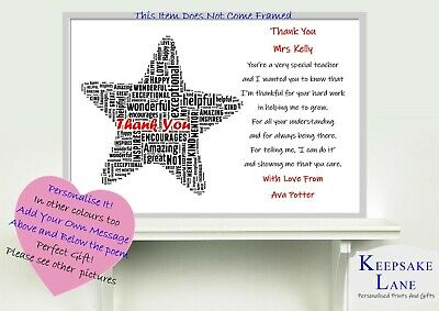 Thank You Teacher Christmas Star Gift Personalised Nursery Childminder Art