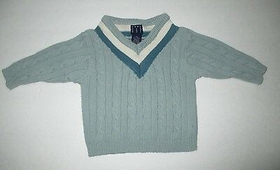 Infant Boys Baby Gap Seafoam Green & Teal V-Neck Cable Knit Sweater Size 6-12 M