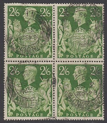 Block of 4 GB KGVI 2s.6d. Yellow-Green SG476b Half Crown George VI Used Stamps