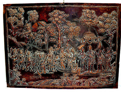 Nepalese repousse copper plaque depicting a ceremonial procession - signed