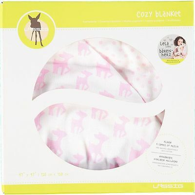 LASSIG 'Lela' Baby Cozy Blanket Extra Large - Pink 120cm x 120 cm - Gift Boxed