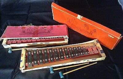 2 Vintage Old Toy Xylophones / Glockenspiels with Beaters, Instruments In Boxes