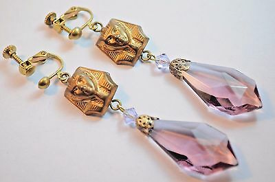 Vtg Raw Brass Earrings  Nouveau Egyptian Revival Purple Czech Glass Handmade