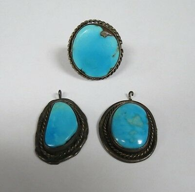 Vintage Sterling Silver and Turquoise Ring and pendants Free Shipping!