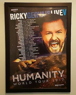 Genuine Ricky Gervais Autograph Humanity World Tour Large Signed Framed Poster