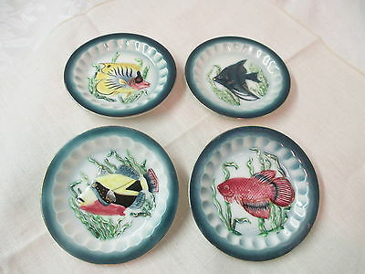 Vintage Japan 4 Shafford porcelain small Plates hand decorated Fish