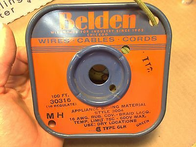 NOS Vintage 1964 Belden GREEN Cloth-Covered Appliance Wire 16 AWG 30316 3004
