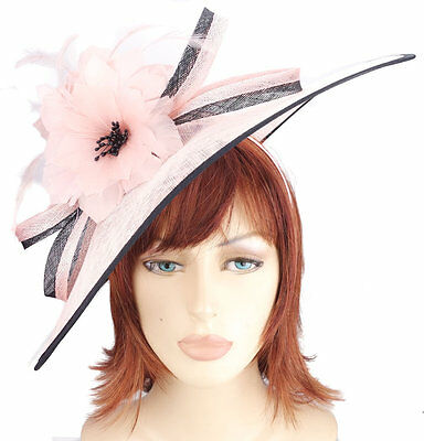 Pink and Black Sinamay Feather Flower Loop Bow Hatinator Hat Hair Fascinator