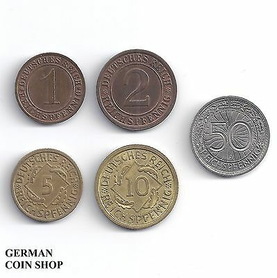 Germany Weimarer Republik - Set 1, 2, 5, 10, 50 Reichspfennig 1924 - 1938