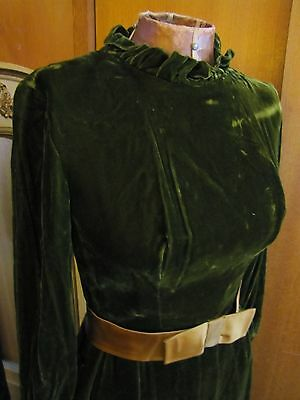 Vintage 1960s Green Silk Velvet Ruffle Gown Dress With Gold Satin Bow Union Made