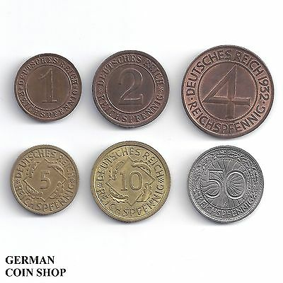 Germany Weimarer Republik - Set 1, 2, 4, 5, 10, 50 Reichspfennig 1924 - 1938