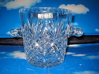 Vintage Lead Crystal Cut Glass Ice Bucket by Irena