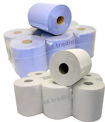 12 x White & Blue 150M x 180mm 2 Ply Centrefeed Kitchen Roll Cleaning Paper
