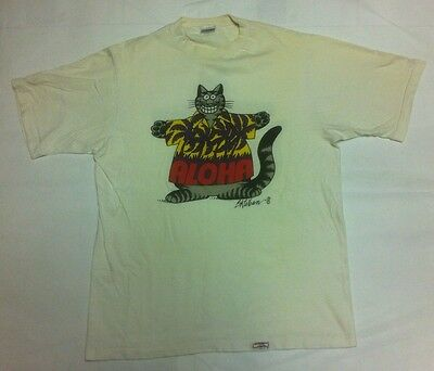 Vintage Crazy Shirt Aloha Cat Double Sided Hawaii Large 100% combed cotton