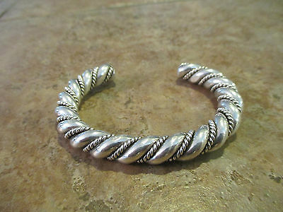 ULTRA PLUSH  Vintage Navajo Sterling Silver TWISTED ROPE Design Bracelet   96 G