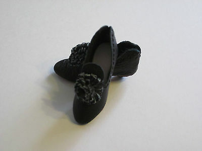 "Black Leather Shoes Slippers for 12"" French Fashion doll fit Alice Leverett FF"