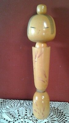 "Antique Wooden 15"" Wooden Kokeshi Doll marked"