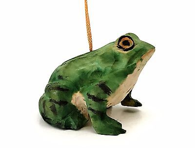 Vintage Hand Carved & Hand Painted Wooden Frog Ornament