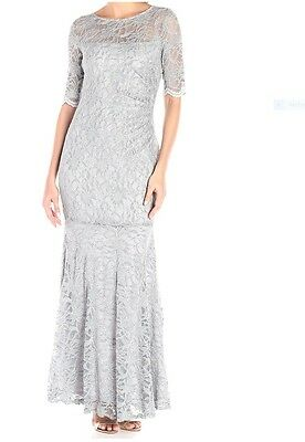 XSCAPE Shimmer Lace Short Sleeve Mermaid Evening Gown Dress, Gray, 6 PMSRP $209