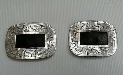 Vintage Antique Pair of Ornate Solid Sterling Silver Shoe Buckles + 1 Other