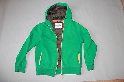 Boys Johnnie B Boden Fur Lined Thick Chunky Hoodie Jacket Age 13 14 Green