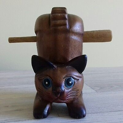 Hand-Made Carved Wooden Cat Hand Percussion Instrument.