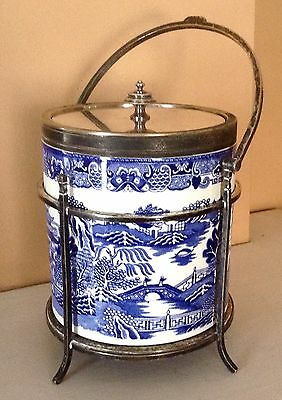 Antique Biscuit Barrel, 1876-94, British Pottery, Silverplate, Aesthetic Period
