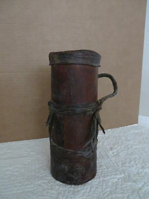 Antique Possibles Leather Wood Pouch Container Mountain Man Western Lidded *rare
