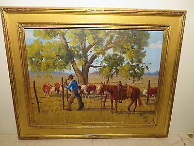 "18x24 original 1966 (Studied under Fred Darge) by FRED RED HARRIS ""Fence Rider"""