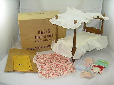 Vintage Hall's Lifetime Toys Wooden Canopy Doll Bed w/ Original Box & Paperwork