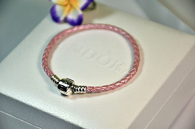 "Black Friday - Moments Woven Leather Bracelet Pink ""All Size"""