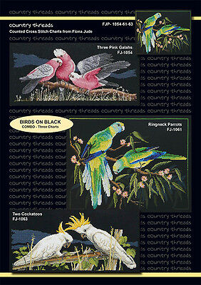 Birds on Black - 'Combo' Cross Stitch Chart from Country Threads. 3 Designs