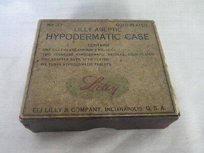 ANTIQUE ELI LILLY #33 ASEPTIC Dermatic SYRINGE CASE  Original box instructions
