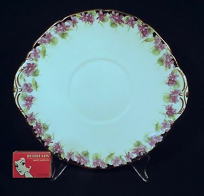 1930 Royal Doulton Cake Plate Violets With Gilded Trim H3747 Good Used Condition