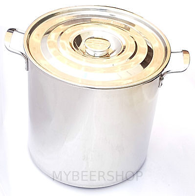 30L Commercial Stock Pot With Lid Stainless Steel Sauce Home Brew Beer Curry