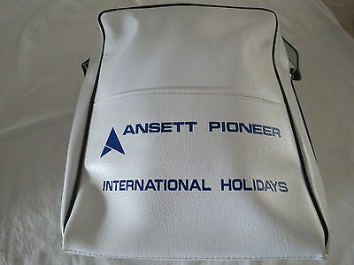Ansett Pioneer International Carry Bag Luggage Airlines White Retro Vintage ++++