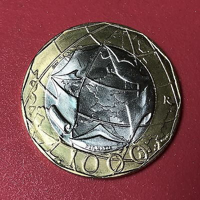 1997 Italy 1000 Lira world foreign coin Bi-metal Excellent BU condition ONE COIN