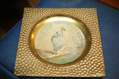 Square Stove Pipe Cover RARE hand Painted English Woman