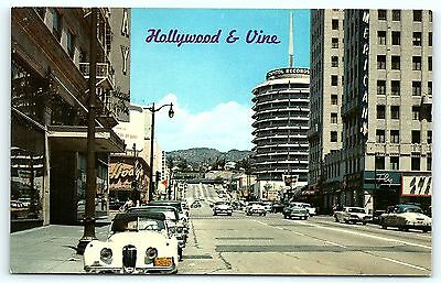 Postcard CA Hollywood 1950's Hollywood & Vine Street View Old Cars