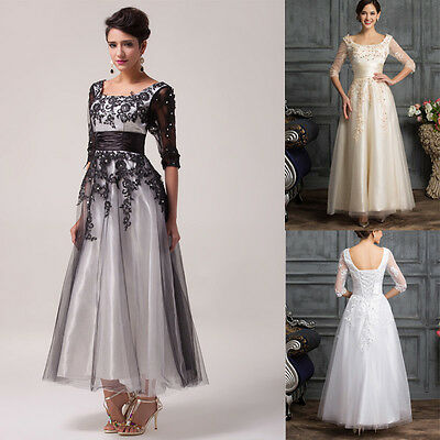 Long Evening Prom Gown Wedding Lace Dress Bridesmaid Cocktail Party Plus Size