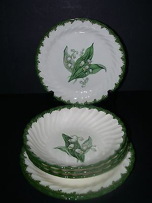 Lot 7 Pcs  Vtg Royal China~  Lily Of The Valley~3 Dessert/3 Berry/1 Cereal~Euc