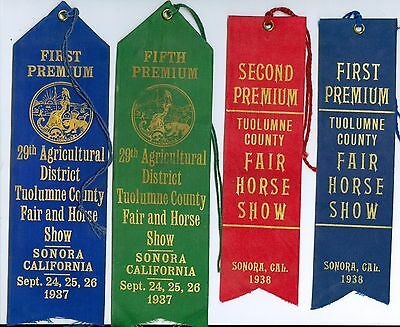 4 1937 & 1938 Tuolumne County Calif Fair & Horse Show Ribbon 2 1st, 1 2nd, 1 5th