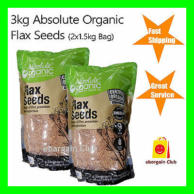 3kg Absolute Organic Certified Flax Seeds (2x1.5kg Bag) Flaxseeds Flaxseed eBC