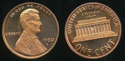 United States, 1980-S One Cent, 1c, Lincoln Memorial - Proof