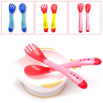Baby Child Safety Silicone Temperature Sensing Spoon and Fork Feeding Flatware