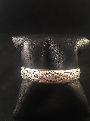 Native American Navajo Sterling Silver Hand Stamped Cuff Bracelet