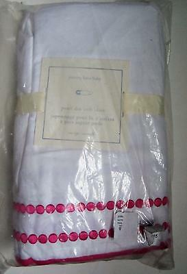 Pottery Barn Kids Pink Pearl Dot embroidered Crib Skirt NEW