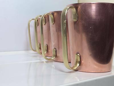 Mid century copper and brass coffee mugs made in Great Brittian U.K