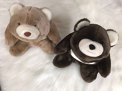Vtg 1980 GUND Lot of Snuffles Bear DARK CHOCOLATE BROWN & Tan Brown EUC